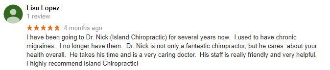 Island Chiropractic Patient Testimonial